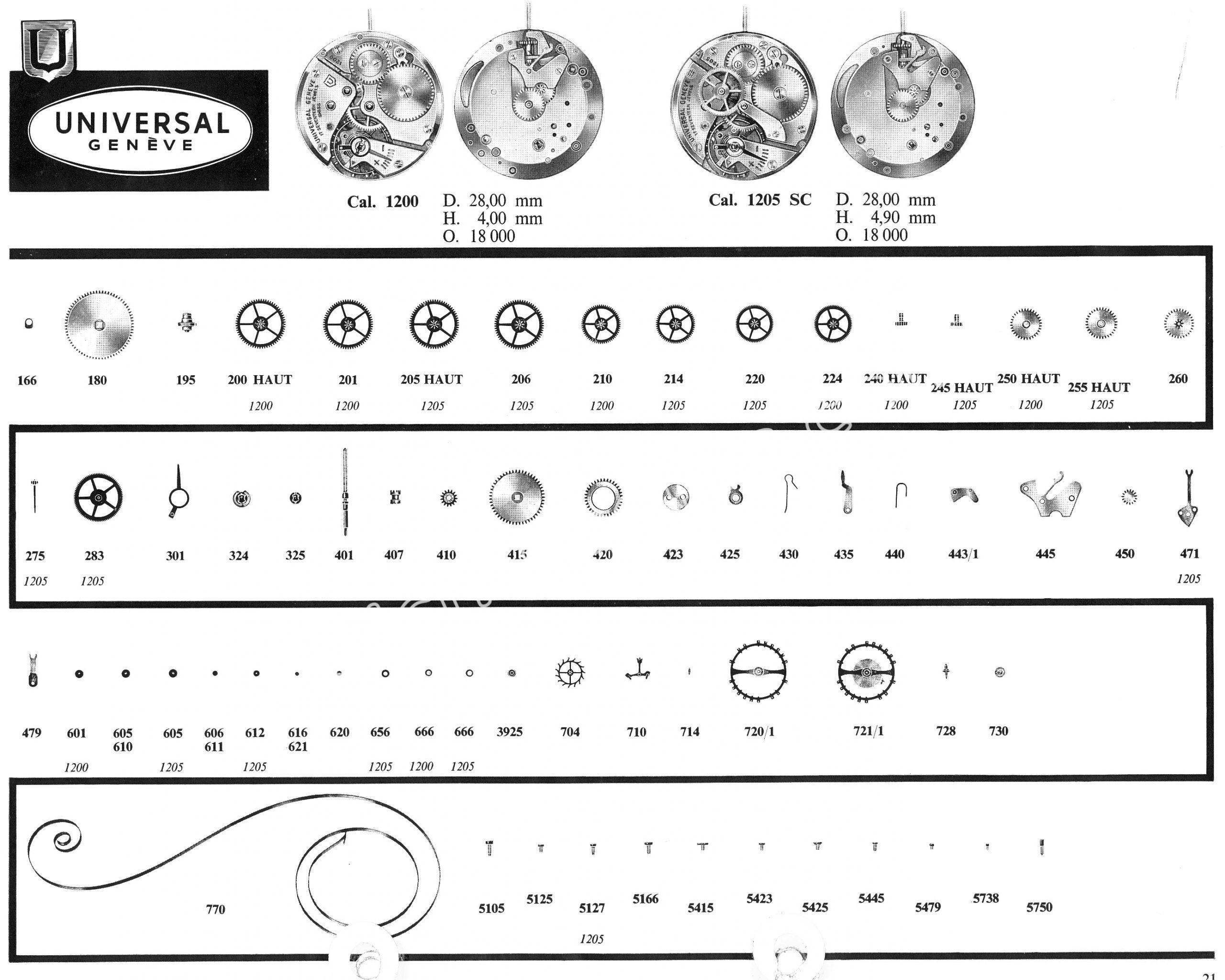Universal 1205SC watch movements watch spare parts